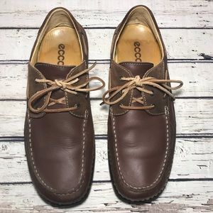 Ecco Men's Brown Leather Boat Shoes Size 13